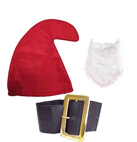 sieben Zwerg / Zwerge Schlumpf Heu Gnome (rot Hut,Bart & Gürtel Satz) Verkleidung Kostümparty Garten Verträumte Papa Schlumpf Schnee Weiß