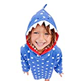 Omiky Kleinkind-Baby-Karikatur-Striped Hoodie-Kleid-Lange Kleid-Kleidung (Blau, 4 Jahre alt)