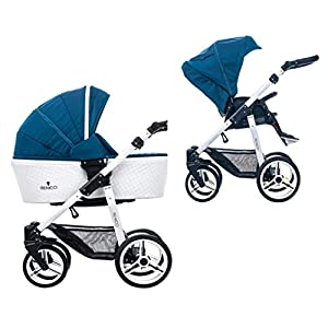 Venicci Pure 2-in-1 Travel System - Ocean Blue - with Carrycot + Changing Bag + Apron + Raincover + Mosquito Net + 5-Point Harness and UV 50+ Fabric + Cup Holder   5