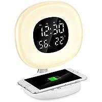 Reloj Despertador Digital de Luz, PAVLIT Despertador Luz con Cargador Inalámbrico Qi,Control Táctil,7 Colores Luz y 8 Sonidos, Despertador de Amanecer y atardecer,Función Snooze