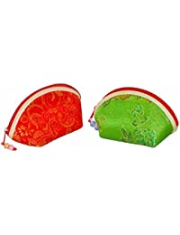 Traditional Vibrant & Designer Coin Pouch(set Of 5)- Assorted Color And Design