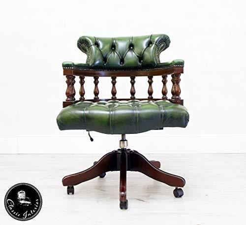 Classic Interior Chesterfield Bürostuhl Sessel Bürosessel Leder Vintage Antik