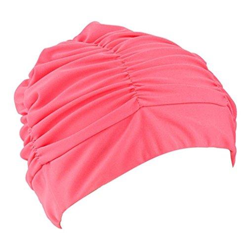 YFZYT 2 Stück Frauen Schwimmmütze/Bademütze / Badekappe/Badehaube / Schwimmkappe, Plissee Tuch Stoff, Rutschfest und Sehr Elastisch