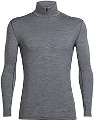 Icebreaker Tech LS Half Zip Camisetas, Hombre, Gris (Gritstone Hthr), M