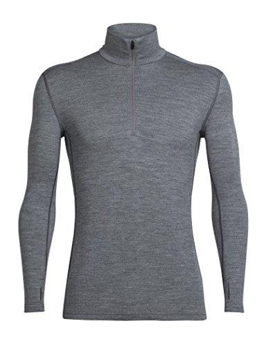 Outdoor-half Zip Pullover (Icebreaker Herren Tech Top Long Sleeve Half Zip Funktionsshirt, Gritstone Hthr, M)