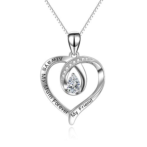 """Halskette für Mama""""always my mum forever my friend"""" Sterling Silber Herz Anhänger Halskette für Frauen Damen"""
