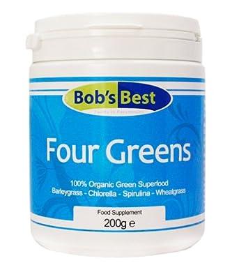 Organic Four Greens - 200g - with Chlorella, Spirulina, Barleygrass & Wheatgrass from Bob's Best