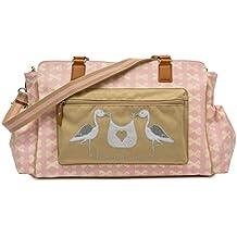 Pink Lining Twice as Nice Baby Changing Bag - Pink & Cream Bows