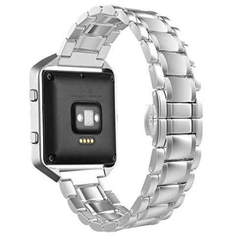 TopTen Fan-Motive Fitbit Blaze Armbanduhr Band, Edelstahl Ersatz Handgelenk Gurt Sport Bands verstellbar Armband für Fitbit Blaze Smart Fitness Watch M silber