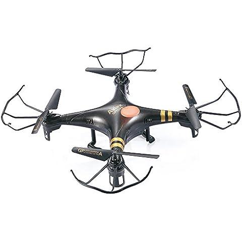 GPTOYS Black Aviax 2.4 GHz Gyroscopio 6-Assi RC Drone Quadricottero con Modalità Headless, Rotazione 3D 360°, Una Chiave di Ritorno, Luci LED, Materiale ABS, DIY, Confezione Regalo di Lusso (Colore: Nero)