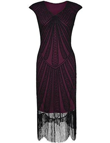 Kayamiya Damen Retro 1920er Jahre Inspirert Perlen Art Deco Franse Flapper Kleid XL Burgund (Perlen Flapper Kostüm)