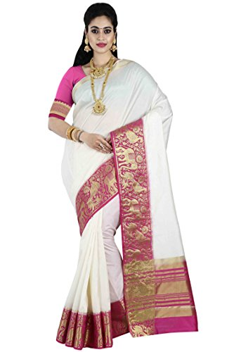 arars Women's Tassar Silk Saree Kanchipuram Style with Blouse (217 TR WHITE)