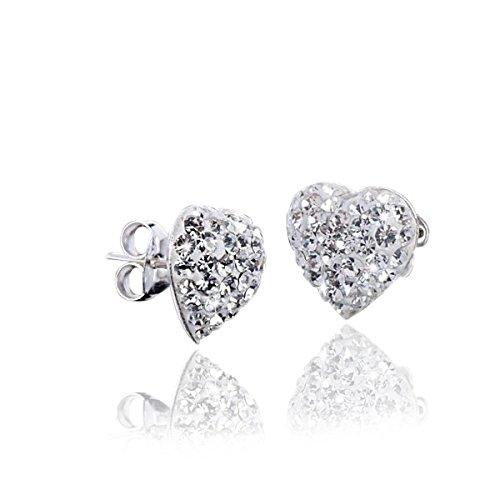 Materia Herz Ohrstecker weiß für Damen Mädchen - 925 Silber Ohrringe Glitzer Kristalle mit Schmuck Schachtel SO-98
