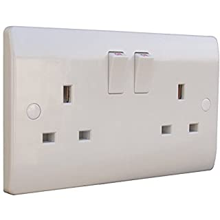 ESR White 2 Gang Twin 240V UK Switched Electric Wall Socket 13A 13amp Plug Beveled Double