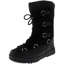 Donna La Neve Inverno Impermeabile Termico Durevole Foderato di Pile Knee Stivali - Nero Tessile - UK5/EU38 - YC0488