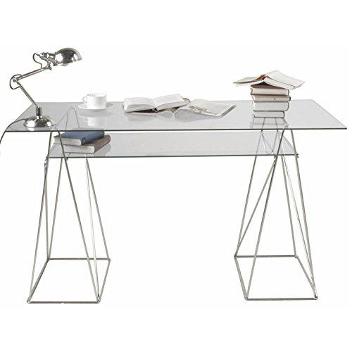 Kare Design Schreibtisch mit 2 Glasplatten Ausgefallenes Gestell Polar