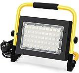 50W LED Baustrahler - Baulampe Flutlicht Strahler tragbar 5000 Lumen IP65 Wasserdicht Fluter mit 5M Netzkabel, 6000K Tageslichtweiß Werkstattlampe Strahler