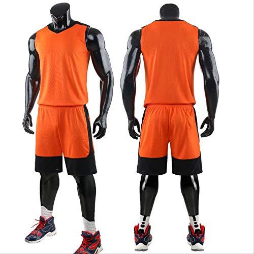 WRPN Maglia da Basket, Maglia da Basket da Uomo, Maglia da Basket e Pantaloncini di Alta qualità, Adatta per Studenti/Uomini/Giovani S Arancione