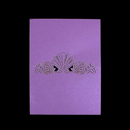 Manyo 50 Stück Tischkarten, Schalenform, 3 Farben für die Auswahl, ideale Dekoration und Geschenk für Hochzeitstag, Hochzeit, Geburtstage, Party, Festival. (Lila)