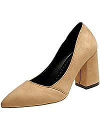 DIMAOL Zapatos de Mujer PU Primavera Otoño Comodidad Tacones Chunky Talón Exterior Negro Beige Marrón