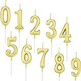Yaomiao 10 Pezzi Compleanno Numerale Candele Torta Numerale Candele Numero 0 - 9 Glitter Torta Topper Decorazione per Bomboniera Festa di Compleanno (Oro)