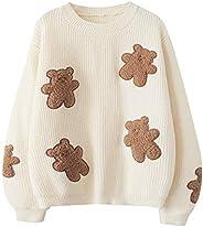 Lindo suéter para niñas adolescentes estilo japonés kawaii oso parche bordado manga larga Pullover Tops Casual