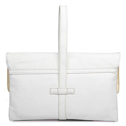 Miss Lulu Damen Medium Leder Stil Abend Clutch Party Hochzeit Handtasche beige