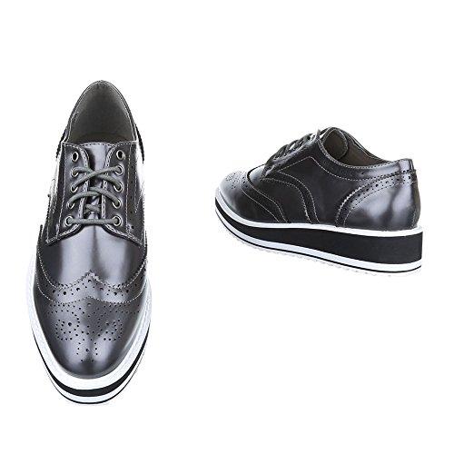 Schnürer Damen Schuhe Oxford Schnürer Schnürsenkel Ital-Design Halbschuhe Grau