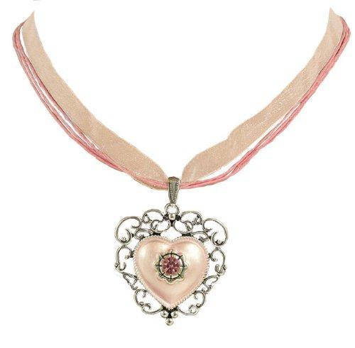 Trachtenschmuck Dirndl Kette ornamentales Herz mit Kristall Antikstil - Rosa Rose