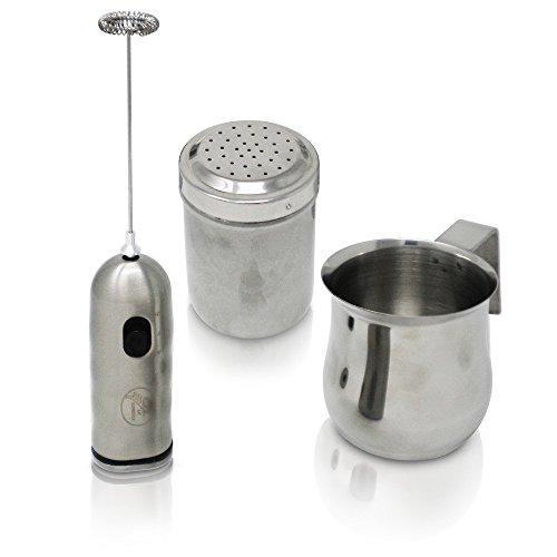 LaGondola Latte Bundle : Montalatte Inox Doppia Velocita\' , Spargicacao Cappuccino in Acciaio e Lattiera Inox 250 ml