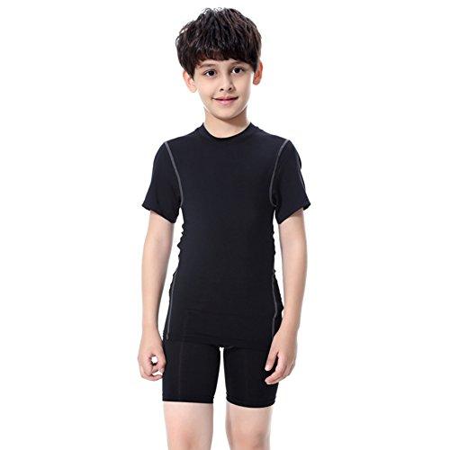 YIFEIKU Co.,Ltd. Boys Athletic Short Sleeve Shirts Pants Basketball Compression Shorts Sport Gym Active Wear