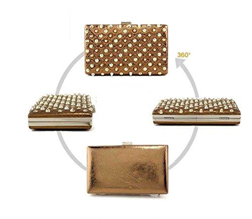 Abendtasche Nieten Brown Handtaschen Arbeiten Damen Damen nIOx0zP1I