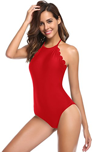 SHEKINI Donna alto collo smerlato un pezzo Sexy body Monokini costumi da bagno a vita alta Backless Costume Intero Bikini Triangolo Cover Up Beachwear Rosso