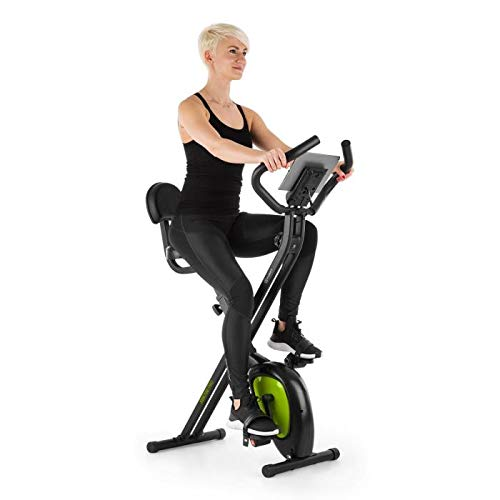 Klarfit X-Bike XBK700 Pro - Bicicleta estática , Bicicleta Fija de Cardio , Ergómetro , Ordenador de Entrenamiento , Pulsómetro , Plegable , Sillín ergonómico , Pedales Antideslizantes , Negro-Verde