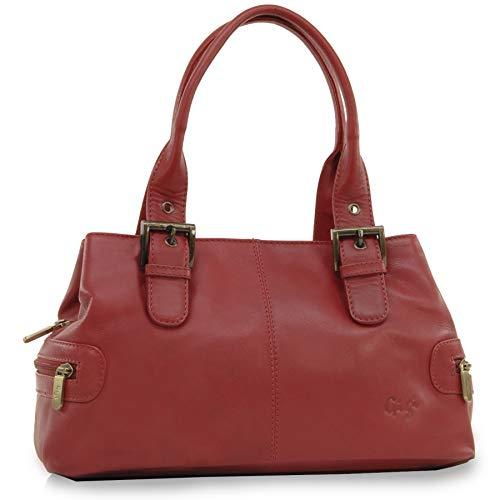 GIGI Gigi - Women s Leather Top Handle Handbag Shoulder Bag - OTHELLO 6165  - Red ... 541ffbff45082