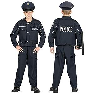 WIDMANN 04468 - Disfraz de policía para niños (158 cm), color negro