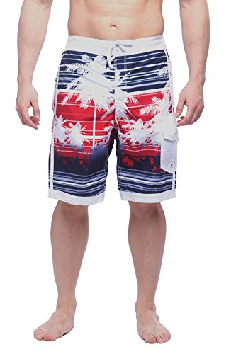 Alki'i Herren Hybrid-Boardshorts mit Netzfutter - Isla Palms - Mehrfarbig - XX-Large -
