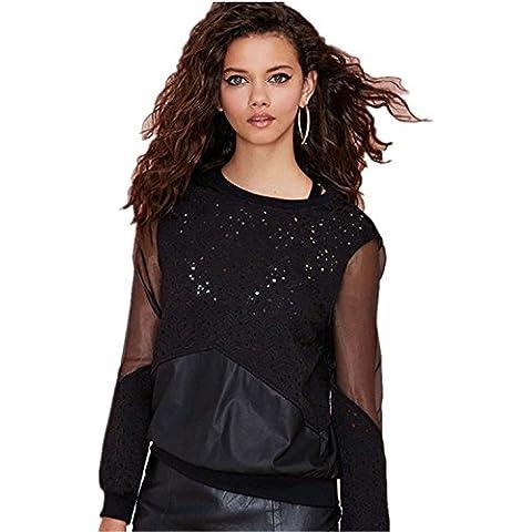 Moda Bordado de Flores Encaje Sheer con Panel de Malla Sudadera T-Shirt Camiseta Tee Top Arriba