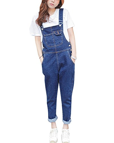 Qitun Damen-Latzhose, Wash Overalls für Denim Jean Jumpsuits Retro Trousers Bib Pants Blau S