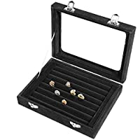 Lavcus Earring Storage Case 7 Slots Ring Velvet Display Case Box Earring Ring Organizer Velvet Jewellery Tray Cufflink Storage Showcase with Clear Glass Lid