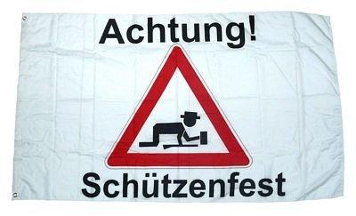 Fahne / Flagge Achtung Schützenfest 90 x 150 cm Fahnen Flaggen