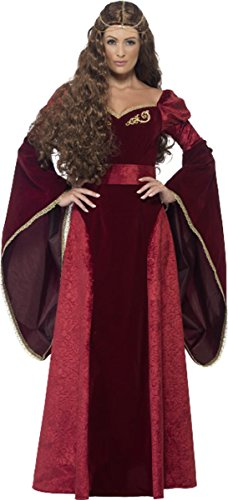 Frauen Erwachsene Fancy Halloween Party Kleid Mittelalter Queen Deluxe Kostüm Outfit, Rot