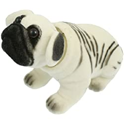 Figura Blanca-Negra de Perro Pug Asentando para Coche