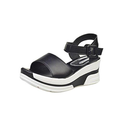 Uomogo® donna sandali estivi elegante ragazze casuale estate sandali piatti in pelle scarpe da con taccco alto basse aperte peep toe sandali 5 cm (asia 38, nero)
