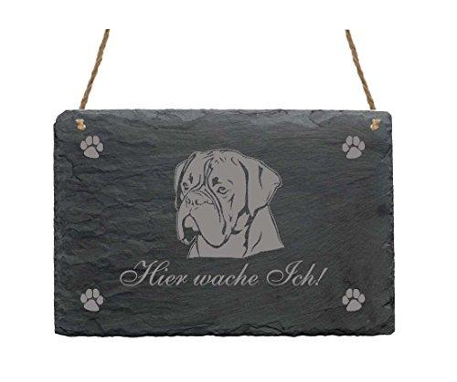 Schiefertafel « Hier wache ich - BOXER » Schild mit Hunde Motiv Deutscher Boxer Kopf - für Haustür Garten Terrasse Tor - Dekoschild Wachhund (Ich Hundehütte)