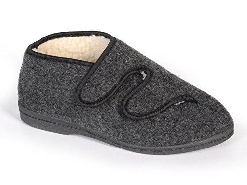 Genuine Men's feutre de laine Chaussons avec doublure chaude et confortable Gris - Grey (Velcro)