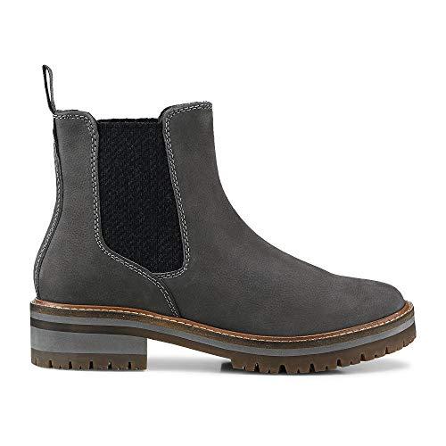 Cox Damen Damen Chelsea-Boots aus Leder, Stiefeletten in Grau mit Innenfutter aus Fleece und robuster Laufsohle grau Leder 39