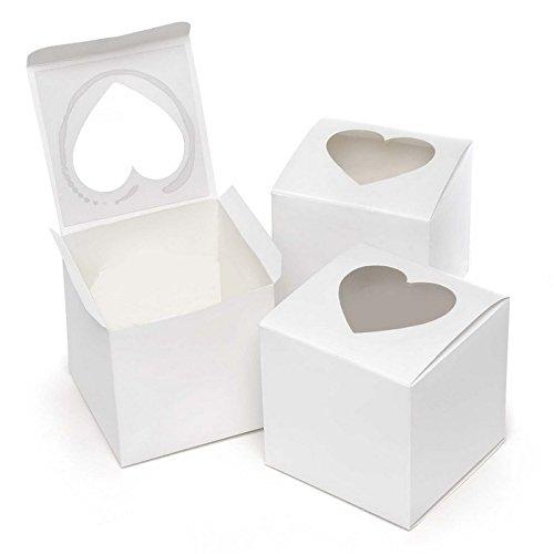50pz scatola bianca con finestra trasparente pvc forma cuore porta dolce regalo confetti 7.6*7.6*7.6cm