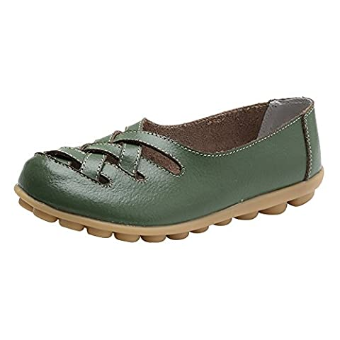Verocara Women's Tanner Pebbled Leather Flats Boat Shoes Casual Shoes Driving Loafers Army green 7.5 UK
