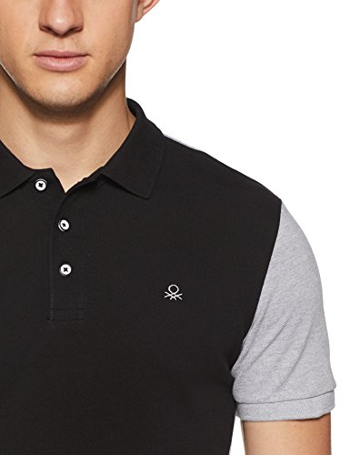 United Colors of Benetton Men's Solid Regular Fit Polo (18P3089E7726I_Black_M)